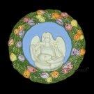"[S155 N] 6,3/4"" Della Robbia ceramic plaque ANGEL HOLDING JESUS Italy"