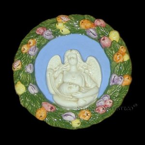 [S155 N] 6,3/4� Della Robbia ceramic plaque ANGEL HOLDING JESUS Italy