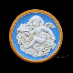 "[S635] 6"" Della Robbia plaque BABY Majolica hand made in Italy"