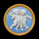 [S828 A] Della Robbia plaque BABIES Majolica hand made in Italy