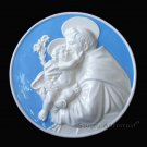 "[S68 N] 12"" ST. ANTHONY OF PADUA Della Robbia ceramic. Hand made, Italy"