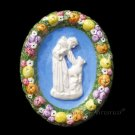 "[S147 N] 6,1/4""x5"" Della Robbia ceramic plaque St. Francis and wolf  Hand made, Italy"