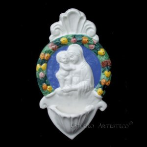"[AM 42] 8""x4,1/2"" Italian Della Robbia ceramic HOLY WATER FONT Madonna with child"