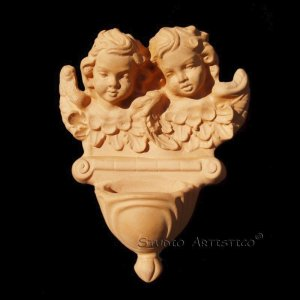 [EA02] Angels. Italian Della Robbia TERRA COTTA HOLY WATER FONT