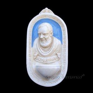 [A45 A] 9�X5� Della Robbia ceramic HOLY FONT Italy: St. Pio of Pietralcina