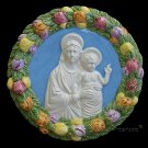 "[S10 A] 9"" Italian Della Robbia ceramic wall plaque Madonna with child"