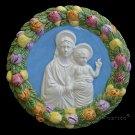 """[S10 A] 9"""" Italian Della Robbia ceramic wall plaque Madonna with child"""
