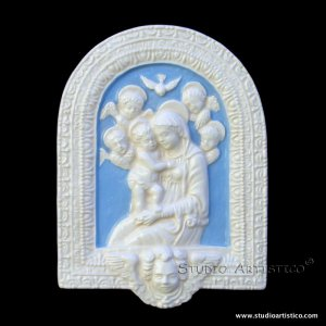 "[S99 N] 7""x5"" Italian Della Robbia ceramic Madonna with child (Virgin of Boccadirio). Italy."