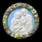 "[S20 A] 19"" Italian hand made Della Robbia ceramic wall plaque HOLY FAMILY"