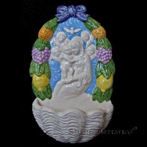 [A42 A] 11�x6� Italian Della Robbia ceramic HOLY WATER FONT Madonna with child (Boccadirio)