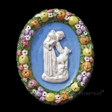 [S147 A] 6,1/4�x5� Della Robbia ceramic plaque St. Francis and wolf  Hand made, Italy