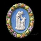 """[S147 A] 6,1/4""""x5"""" Della Robbia ceramic plaque St. Francis and wolf  Hand made, Italy"""