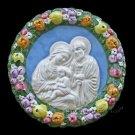 """[S148 A] 6,1/4"""" Holy Family. Italian hand made Della Robbia ceramic wall plaque"""
