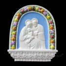 "[S66 A] 10,1/2"" x 9,1/2"" Italian hand made Della Robbia ceramic wall plaque HOLY FAMILY"