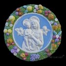 "[S16 N] 15,3/4"" Italian Della Robbia Madonna with child and 2 angels. Ceramic"