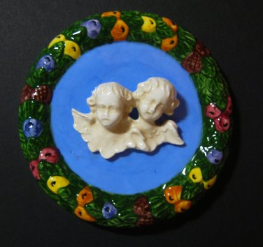 [S184 ] 4,1/4� Della Robbia ceramic plaque ANGELS Hand made in Italy