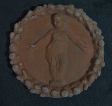 "[NP 02] 10,1/2"" Della Robbia TERRA COTTA plaque BABY IN SWADDLING CLOTHES Hand made in Italy"