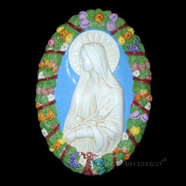 """[S58 A] 19,3/4""""X13,3-4"""" Italian Della Robbia ceramic Virgin of the lili. Italy."""