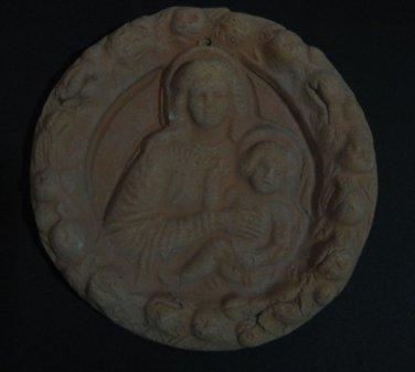 """[N01] 5,3/4"""" Italian Della Robbia TERRA COTTA plaque Madonna with child Italy"""