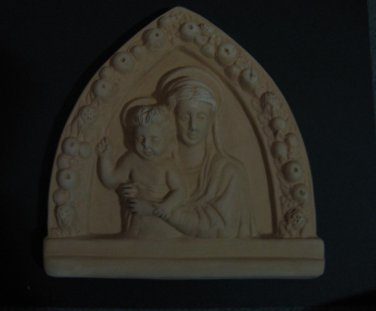 "[N02a] 7""x7"" Italian Della Robbia TERRA COTTA plaque Madonna with child Italy"