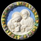 "[S134 A] 11,1/2"" Italian hand made Della Robbia ceramic wall plaque HOLY FAMILY"