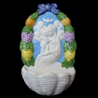 [A42 N] 11�x6� Italian Della Robbia ceramic HOLY WATER FONT Madonna with child (Boccadirio)