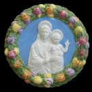 "[S10 N] 9"" Italian Della Robbia ceramic wall plaque Madonna with child"