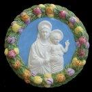 """[S10 N] 9"""" Italian Della Robbia ceramic wall plaque Madonna with child"""