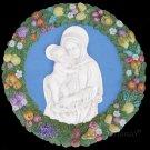 """[S31 N] 19,1/8"""" Italian Della Robbia ceramic plaque Madonna with child"""