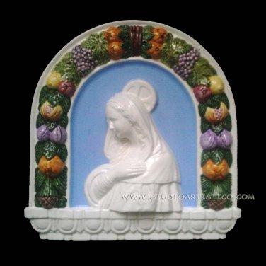 """[S55 N] 16,1/2"""" x 15,3/4"""" Madonna. Italian Della Robbia wall plaque ceramic, italy"""