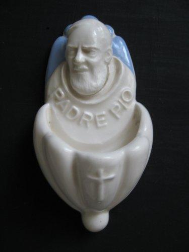 [A44 A] 6,1/4�X3� Della Robbia ceramic HOLY FONT Italy: St. Pio of Pietralcina