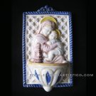 "[A13 DEC-A] 7""X4"" Italian Della Robbia ceramic HOLY WATER FONT Madonna with child"