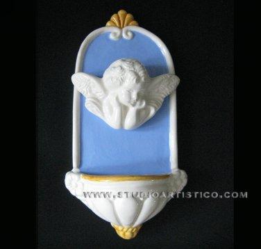 [A70 N] 8�X4�  Italian Della Robbia ceramic HOLY WATER angel