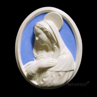"""[S05 N] 11,1/2""""X9"""" Madonna. Italian Della Robbia wall plaque ceramic, italy"""