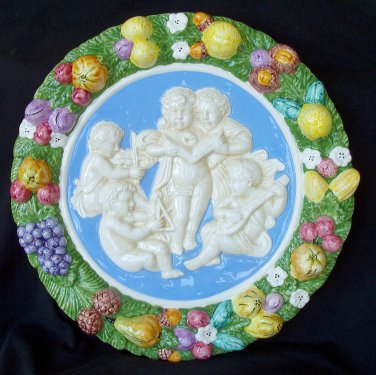 [S57 N] 15,3/4� Della Robbia ceramic plaque ANGELS Hand made in Italy