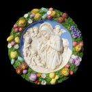 """[S46 N] 14,1-2"""" Adoration. Italian Della Robbia ceramic plaque"""