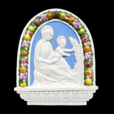 "[S54 N] 9""X10,3-4"" Italian Della Robbia ceramic Madonna with child (Virgin of the lili). Italy."