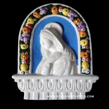 """[S65 N] 10""""X8,1-4"""" Italian Della Robbia wall plaque Madonna. Majolica, italy."""