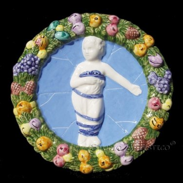 "[S90 N] 8"" Della Robbia ceramic BABY IN SWADDLING CLOTHES Hand made in Italy"