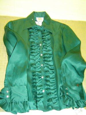 Talbots 100% silk Teal Green Blouse sz 4
