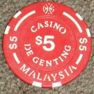 Malaysia Genting Gambling casino token chip $5.00-S1