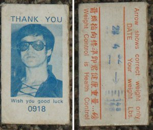 "70's Malaysia BRUCE LEE weight card *RARE"" and unusual-S1"