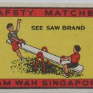 3 Matchbox label-Singapore Eagle,Lifeguard,See Saw-#MA3-S7