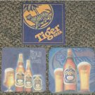 3 different Tiger Beer coasters #C-S6