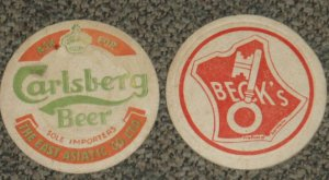 vintage Carlsberg and Beck's Beer coasters #P-S6