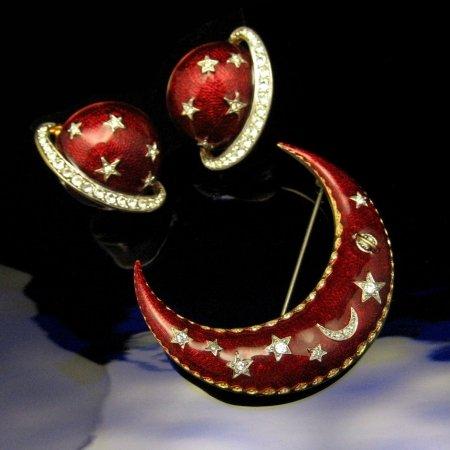 BUTLER WILSON Vintage Brooch Pin Earrings Set Red Crescent Moon