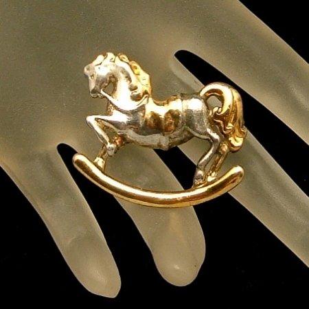 DANECRAFT Vintage Rocking Horse Brooch Pin Two Tone