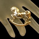 DANECRAFT Vintage Rocking Horse Brooch Pin Two Tone