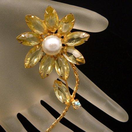 Large Vintage Daisy Flower Brooch Pin Yellow Aurora Borealis AB Rhinestones