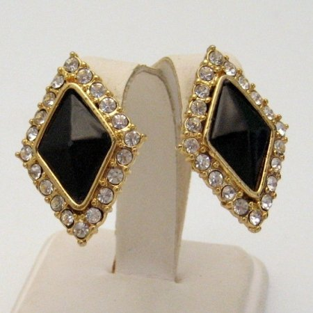 Vintage Post Earrings Large Faux Onyx Cabs Rhinestones